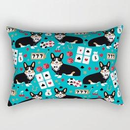 Welsh Corgi tricolored fancy poker night blackjack casino corgis cute dog breed gifts Rectangular Pillow