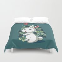 clover Duvet Covers featuring Clover Bunny by Freeminds