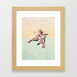 Turtle and bouquet Framed Art Print