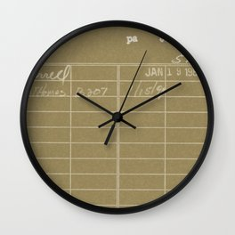 Library Card 797 Negative Brown Wall Clock