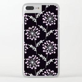 Fishnet pink flowers on a black background. Clear iPhone Case