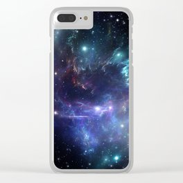 Violet green nebula galaxy 180715 Clear iPhone Case