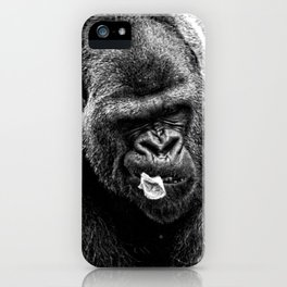 Male Silverback Lowland Gorilla with Smirk and Lettuce in Mouth Vintage Black and White iPhone Case