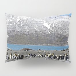 Snowy mountain with King Penguins in the Foreground Pillow Sham