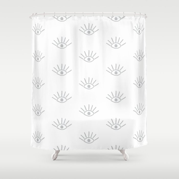 Light Grey Evil Eye Pattern Shower Curtain