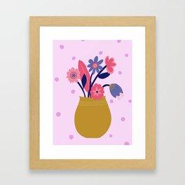 Pink Spotty Flower Framed Art Print