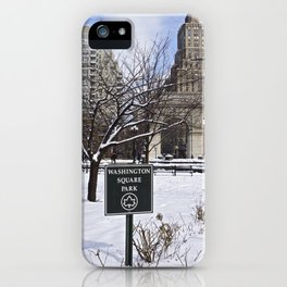 Washington Square Park in the snow iPhone Case