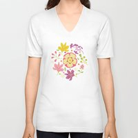 oriental V-neck T-shirts featuring Oriental Blooms by Poppy & Red