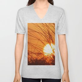 Sunset Through the Grass Unisex V-Neck