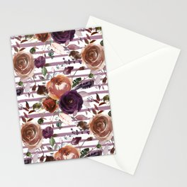Vivid Plum and Orange Blossom with Feathers on White with Soft Purple Stripes  Stationery Cards