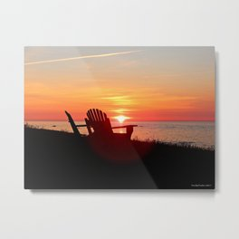 Chairs Sea and Sunset Metal Print