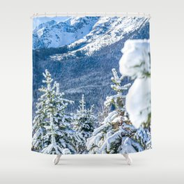 Powder Forest // Through the Trees Blue Snow Cap Mountain Backdrop Shower Curtain