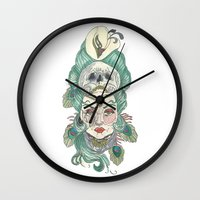 anxiety Wall Clocks featuring Anxiety by Melissa Smets