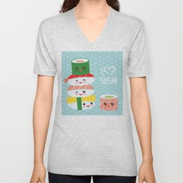 I love sushi. Kawaii funny sushi set with pink cheeks and big eyes, emoji. Blue japanese pattern Unisex V-Neck