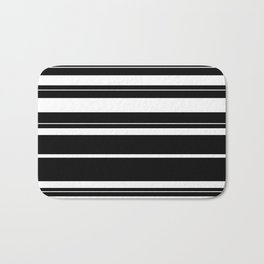 Black And White Stripes Bath Mat