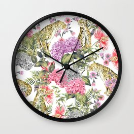 Leopards in flowery garden Wall Clock