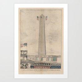 Vintage Bunker Hill Monument Inauguration Illustration Art Print