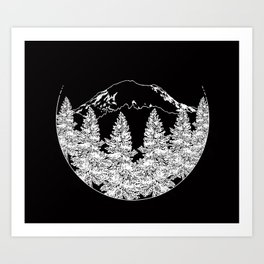 Mt. Rainier  |  Black Art Print