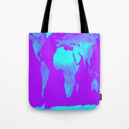 World Map Turquoise & Purple Tote Bag