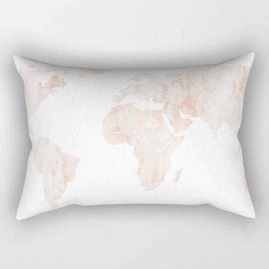 Marble World Map Light Pink Rose Gold Shimmer Rectangular Pillow