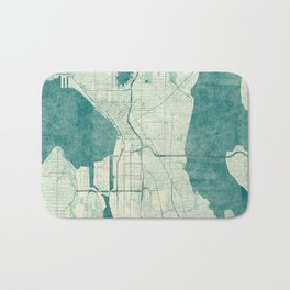 Seattle Map Blue Vintage Bath Mat