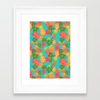 pineapples Framed Art Prints featuring Pineapples by Laura Barnes