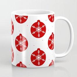 Snowflakes in Red Ornaments Christmas Decor Coffee Mug