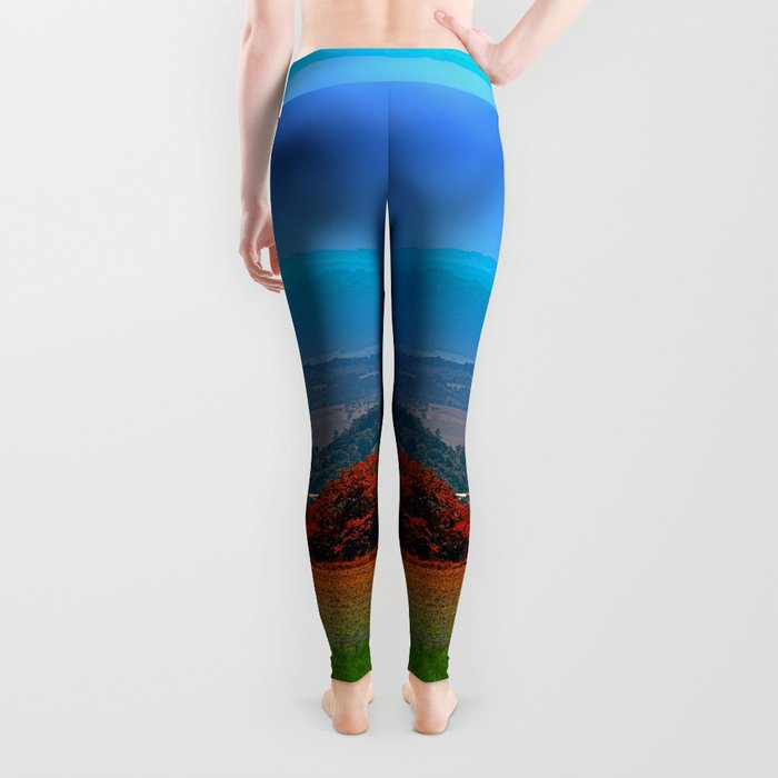 A hunting perch, a village and some vivid scenery Leggings