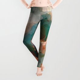 Turquoise Copper Agate Low Poly Geometric Triangles Leggings