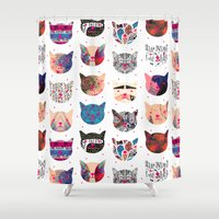 kindle Shower Curtains featuring C.C. iii by Nikola Nupra