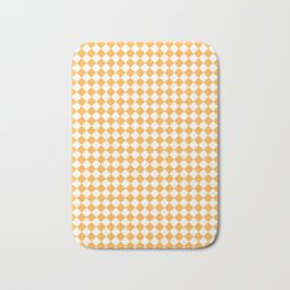Small Diamonds - White and Pastel Orange Bath Mat