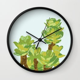Portylacaria Afra Succulent Blue and Green Wall Clock