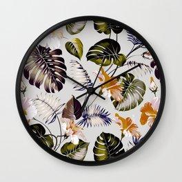 Tropical botanical pattern I Wall Clock
