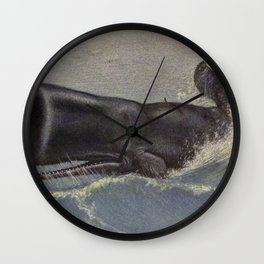 Vintage Sperm Whale Painting (1909) Wall Clock