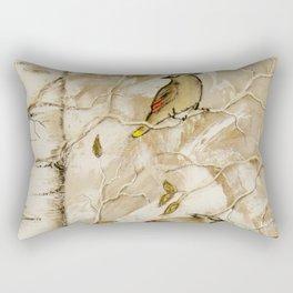 Cedar Waxwings in Birch Tree Rectangular Pillow