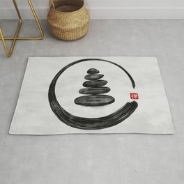 Zen Enso Circle and Zen stones - Watercolor Rug