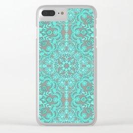 Mint Green & Grey Folk Art Pattern Clear iPhone Case