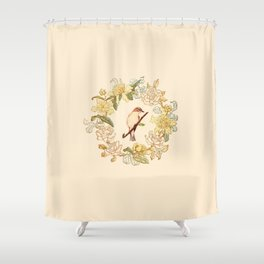 Antique Bird and Wreath Shower Curtain