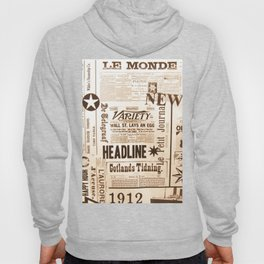 Vintage Newspaper Ads Black and White Typography Hoody