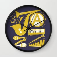 jazz Wall Clocks featuring Jazz by Veronika K