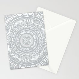 Spiral Mandala Detailed Eclectic Ethnic Spiritual Minimalism Minimalist Design (Light Cool Gray) Stationery Cards
