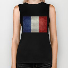 French Flag with vintage textures Biker Tank