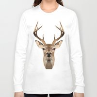 low poly Long Sleeve T-shirts featuring Low Poly Deer by Nick Seils