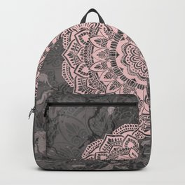 Pink lace mandala on gray Marble Backpack