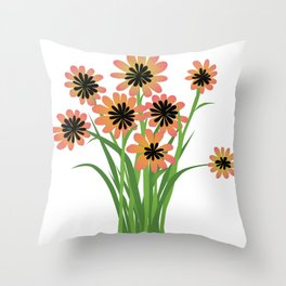 Brightly Colored Flowers Throw Pillow