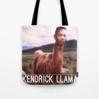 kendrick lamar Tote Bags featuring Kendrick Llama by Creatmaker