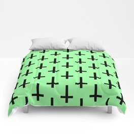 Black and Green Inverted Cross Pattern Comforters