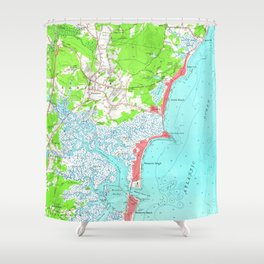 Vintage Map of Hampton Beach New Hampshire (1957) Shower Curtain