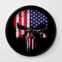 American flag Skull Wall Clock
