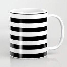 Even Horizontal Stripes, Black and White, M Coffee Mug